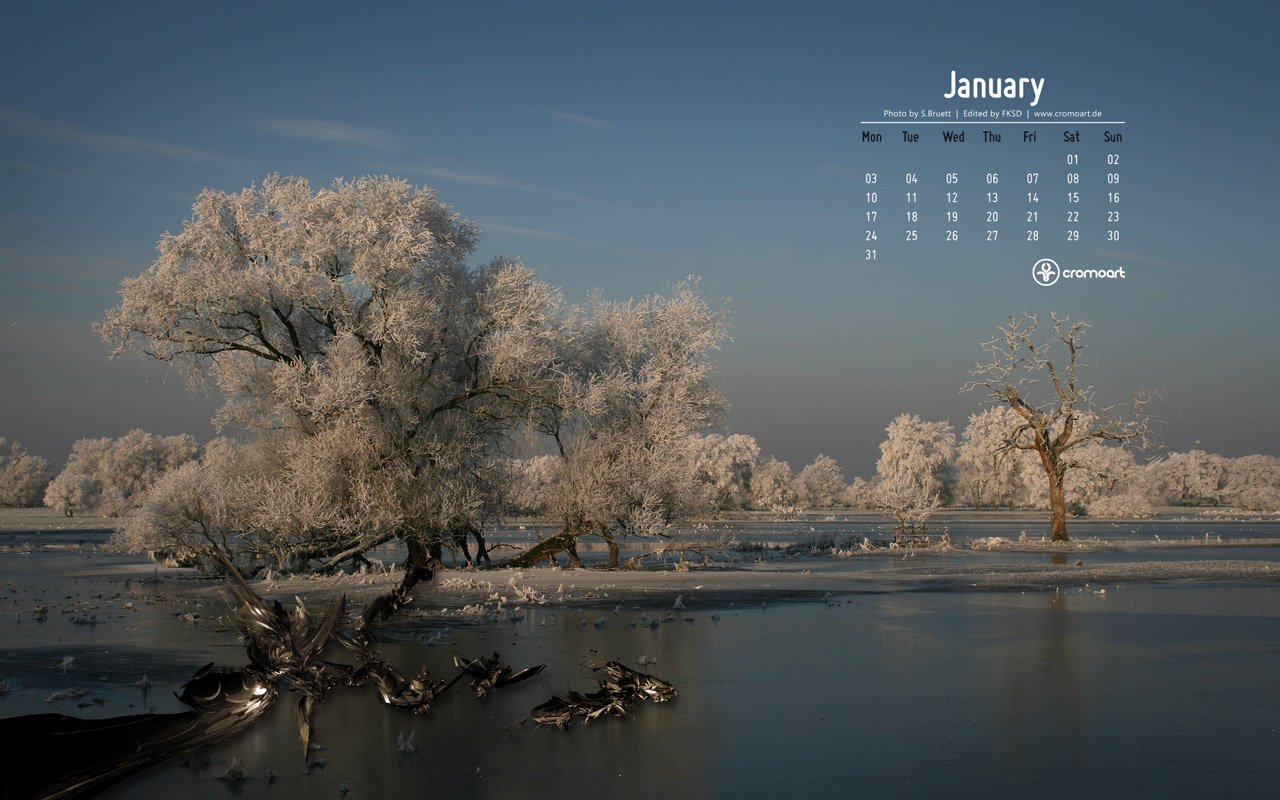 cromoart free desktop calendar january 2011
